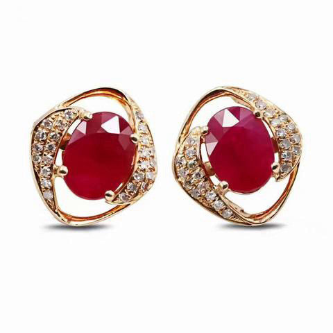 Natural Ruby w/Diamond Sides Stud Earring  18K Rose Gold