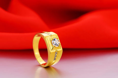 Cubic Zirconia Simulated diamond square gold man's ring