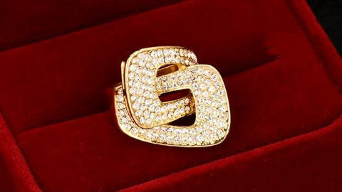 Yellow Gold Plated Cubic Zirconia Buckle Ring