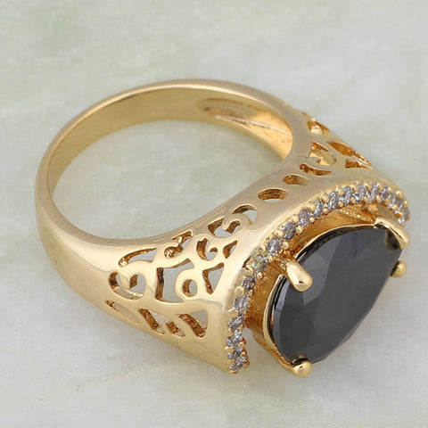 Exquisite Black Topaz Ring 18K Yellow Gold Plated