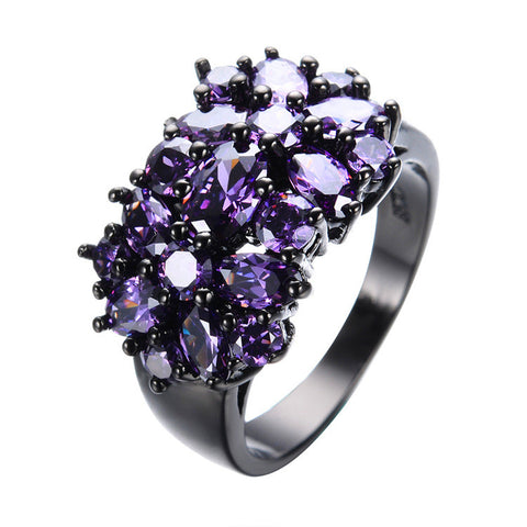 Elegant Black Gold Filled Cubic Zirconia Ring 5 Color Choices