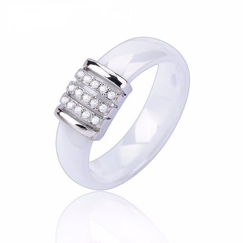 Cubic Zirconia Stone Stainless Steel Ceramic Ring