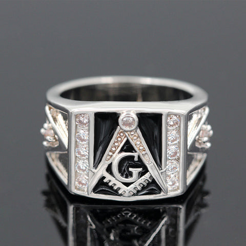 Black Masonic Rings Silver Plated with Cubic Zirconia