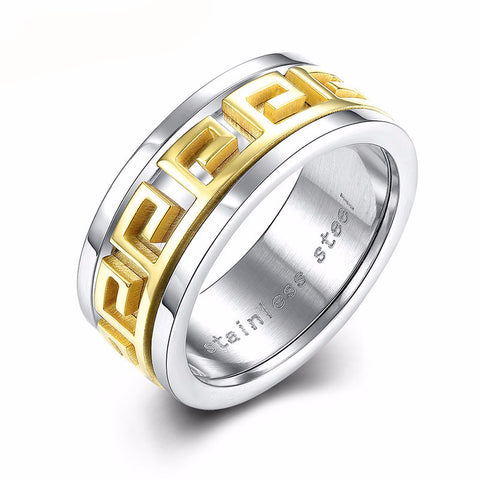 Classic Gold Plated Men's Ring with Geometric Design