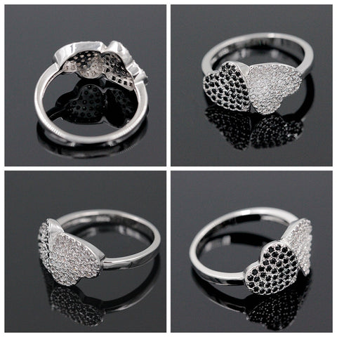 Black and White Heart Cubic Zirconia on Silver