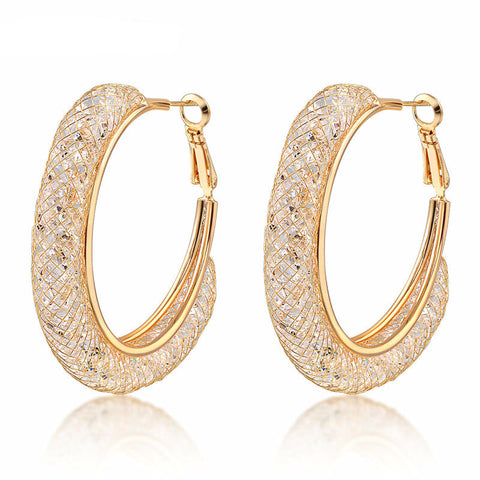 18k Rose Gold Plated Mesh Crystal Hoop Earrings