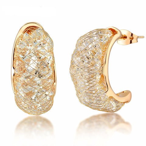 18k Rose Gold Plated Mesh Crystal Small Hoop Earrings