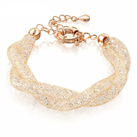 18k Gold Plated Twisted  Mesh Wrapped Crystal  Bracelet