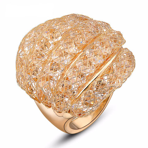 Crystals Fishnet 18k Gold Plated Ring