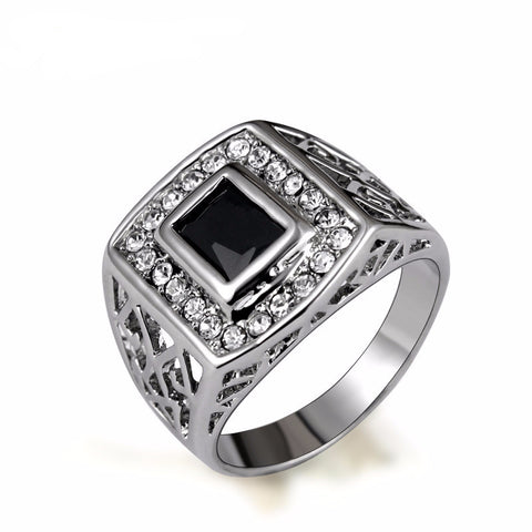 White White Gold Plated Black Cubic Zirconia Square Men's Ring