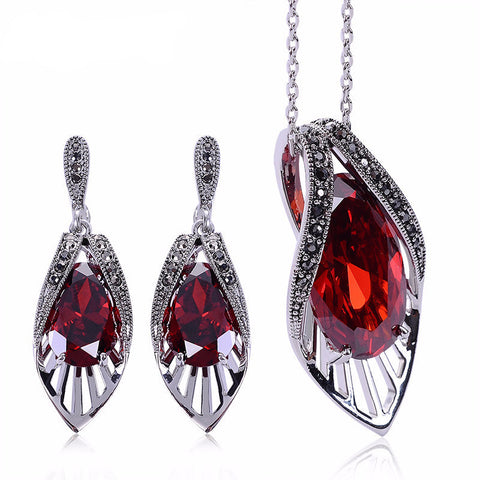 Red Cubic Zirconia Earrings Necklace Set