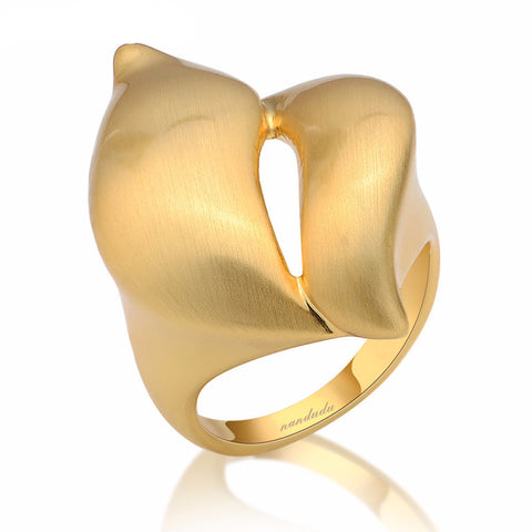 18k Gold Plated Twisty Metal Ring