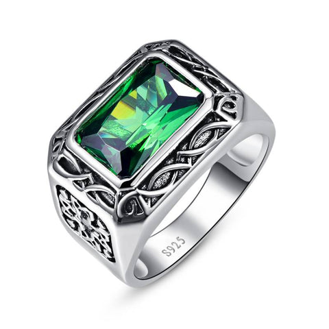 6.8Ct Green Emerald Ring Men's Solid Sterling Sliver Ring