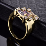 Large Yellow Gold Plated Cubic Zirconia Ring