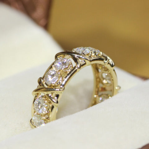 Luxury simulated diamond Cubic Zirconia 10KT Yellow Gold Filled