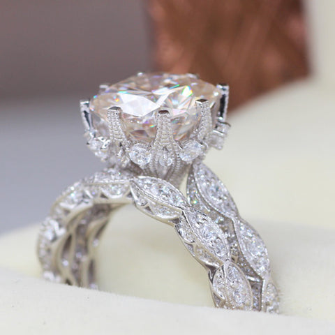 LUXURY  Bridal Set 5 Carat Cushion Cut Moissanite Mounted on Solid 14K  White Gold