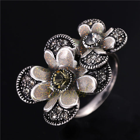 Retro Style Rhinestone Silver Plated Big Flower Ring