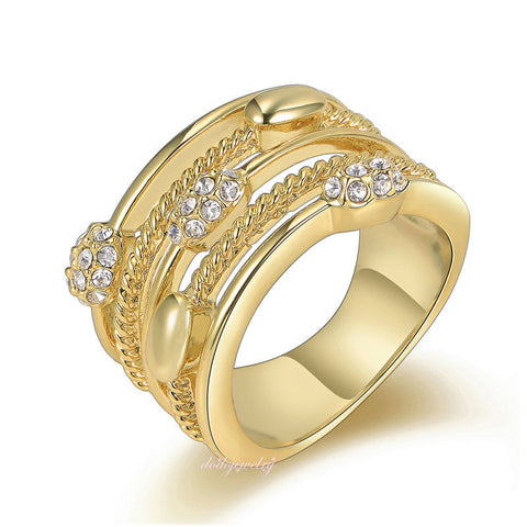 18k Gold Plated Crystal Cocktail Ring