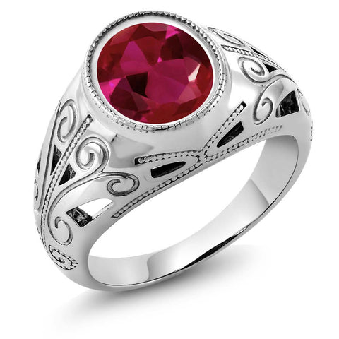 6.40 Ct Oval Red Created Ruby on Sterling Silver Men's Ring