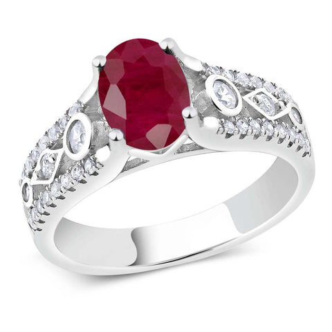2.16 Ct Oval Red Ruby 925 Sterling Silver