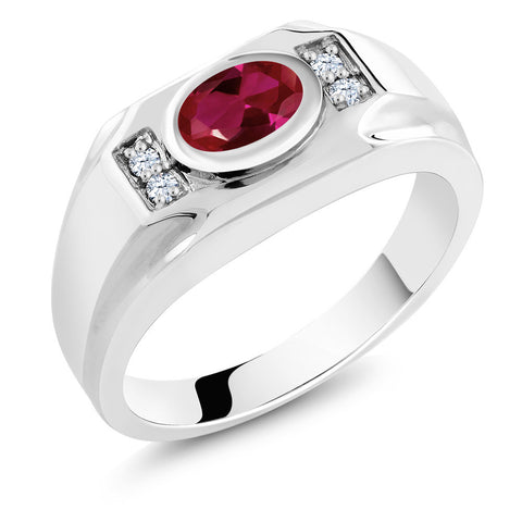 1.71 Ct Red CZ Simulated Ruby w/White CZ Sterling Silver Men's Ring