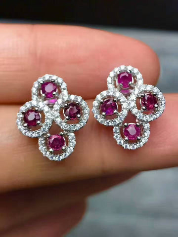 Natural Ruby Stud Earrings w/CZ accents