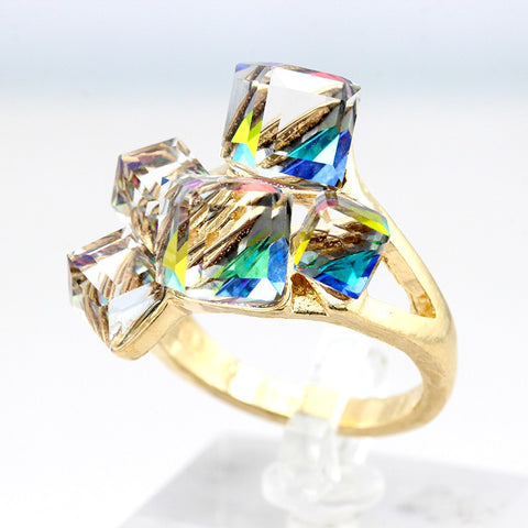 Crystal Ring Gold Color Platinum Plated 4 colors available