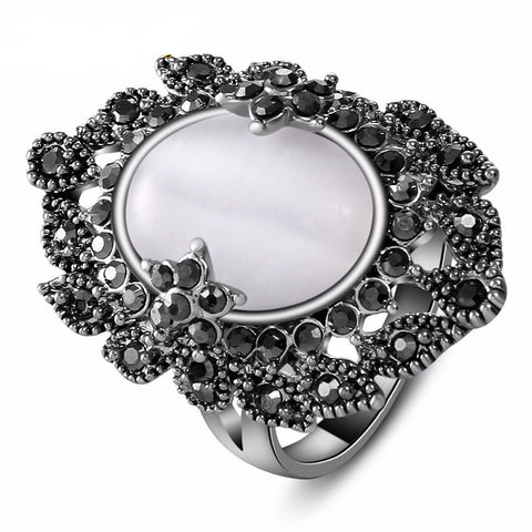Elegant Palace Retro Black Cubic Zirconia White Opal Ring
