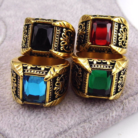 Stainless Steel Big Crystal Square Stone Men's Ring in 4 Colors