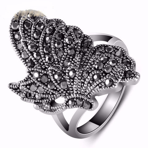 Black Rhinestone Diamond Butterfly Ring