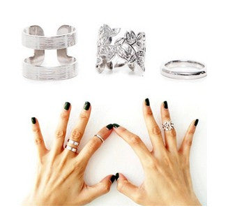 3 pcs. Fashion Gold or Silver-plated Rings