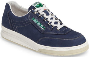 Mephisto Men's Match Navy Nubuck 845 lace-up walking shoe with speed lacing Side View