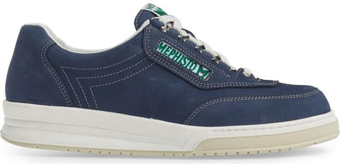 764909a09b Mephisto Men's Match Navy Nubuck 845 lace-up walking shoe with speed lacing  Side View