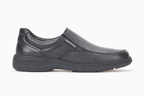 Mephisto Men's Davy Black Leather Slip-On Waterproof Loafer Side View