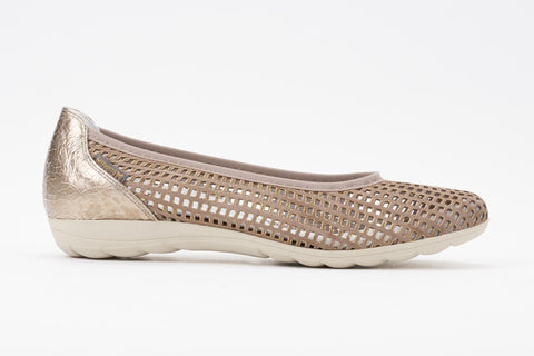 Mephisto Women's Evelyne Perforated Ballet in Taupe Metal Side View