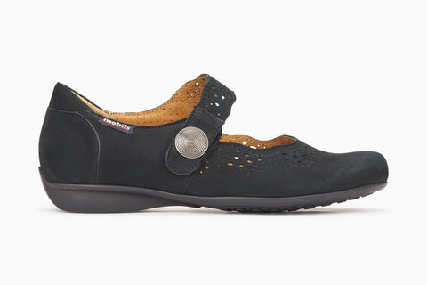 Mephisto women's Mobils Mary Jane slip on black nubuck side view