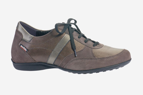 Mephisto Women's Mobils Fedra - Grey Bucksoft/Bronze Ceylan / Titanium Perl Calfskin 6903/9917/10143 dress lace-up walking shoe side view