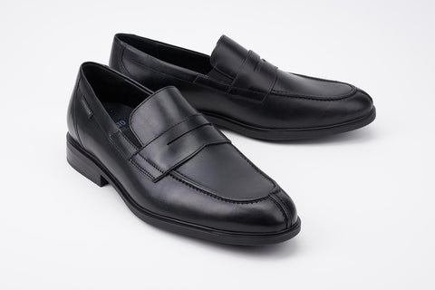82230c5a96 ... Mephisto Men's Fortino Black Palace 4300 dress penny loafer with  elastic goring profile ...