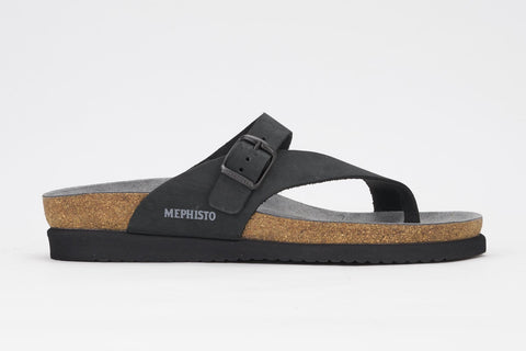Mephisto Women's Helen Black Nubuck 6000 cork foot-bed buckle slide sandal side view