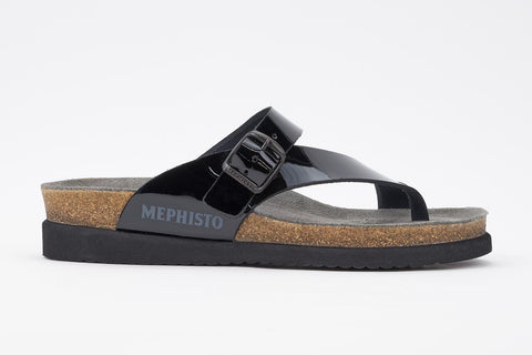 Mephisto Women's Helen Black Patent 1100 cork foot-bed buckle slide sandal side view
