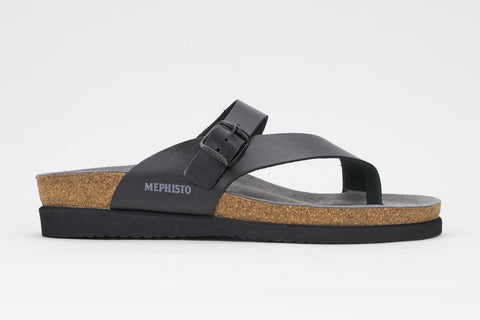 Mephisto Women's Helen Black Waxy 2800 cork foot-bed buckle slide sandal side view