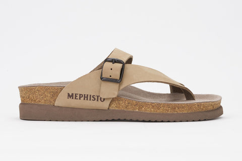 Mephisto Women's Helen Light Beige Nubuck 6031 cork foot-bed buckle slide sandal side view