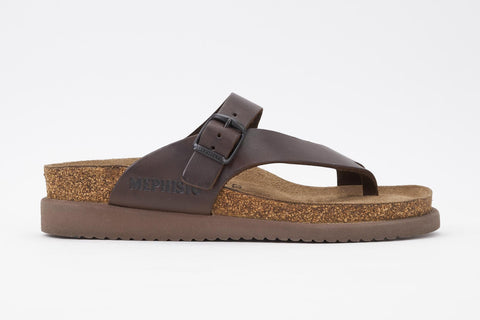 Mephisto Women's Helen Dark Brown Scratch 3451 cork foot-bed buckle slide sandal side view