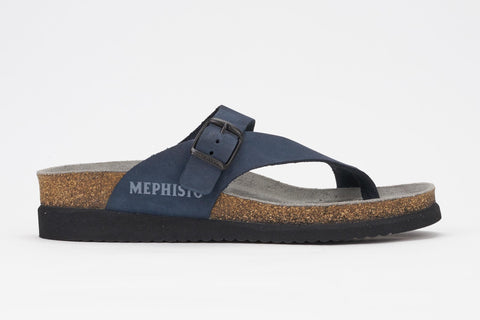 Mephisto Women's Helen Navy Nubuck 6045 cork foot-bed buckle slide sandal side view