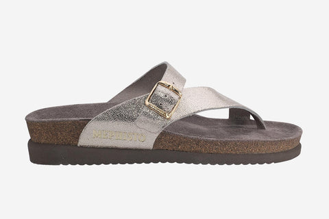 Mephisto Women's Helen Platinum Venise 19153 cork foot-bed buckle slide sandal side view