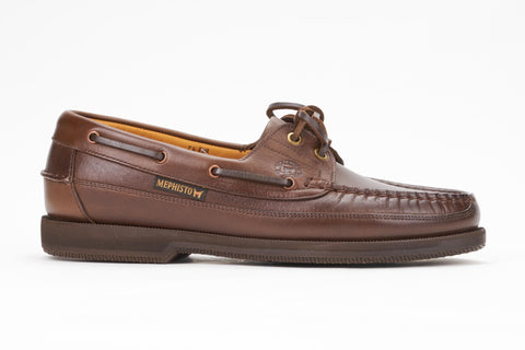 Mephisto Men's Hurrikan Brown Smooth 4951 lace boat shoe side view