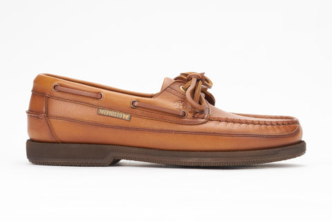 Mephisto Men's Hurrikan Rust Smooth 4935 lace up boat shoe side view