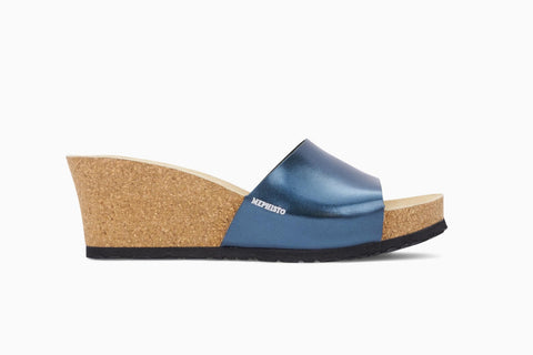 Mephisto women's Lise wedge sandal slip on blue star side view