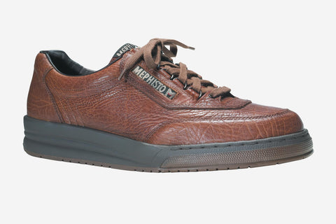 Mephisto Men's Match Tan Grain 742 lace-up walking shoe with speed lacing side view