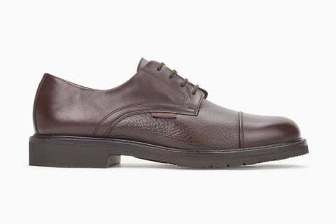 Mephisto Men's Melchior Dark Brown Smooth / Dark Brown Grain 9051/451 cap toe dress oxford side view